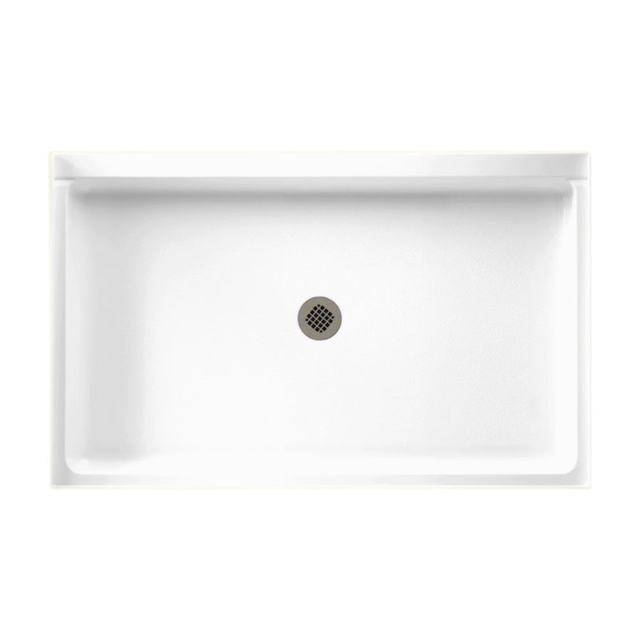 Swanstone White Fiberglass/Plastic Composite Shower Base (Drain Included)  (Common: 54