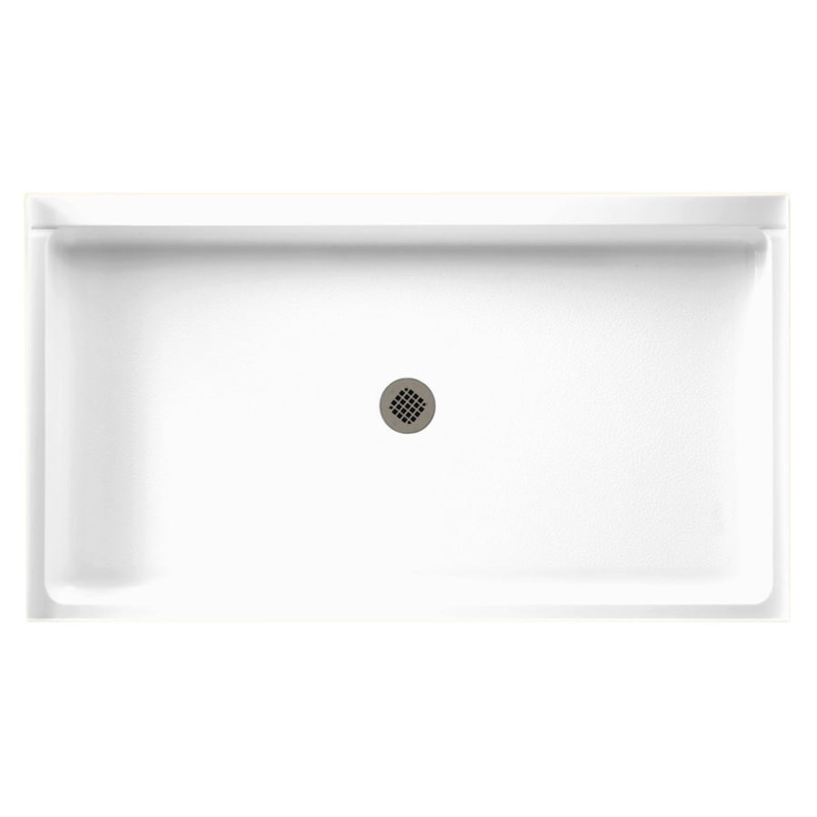 Swanstone White Fiberglass and Plastic Composite Shower Base (Common: 60-in W x 34-in L; Actual: 34-in W x 60-in L)