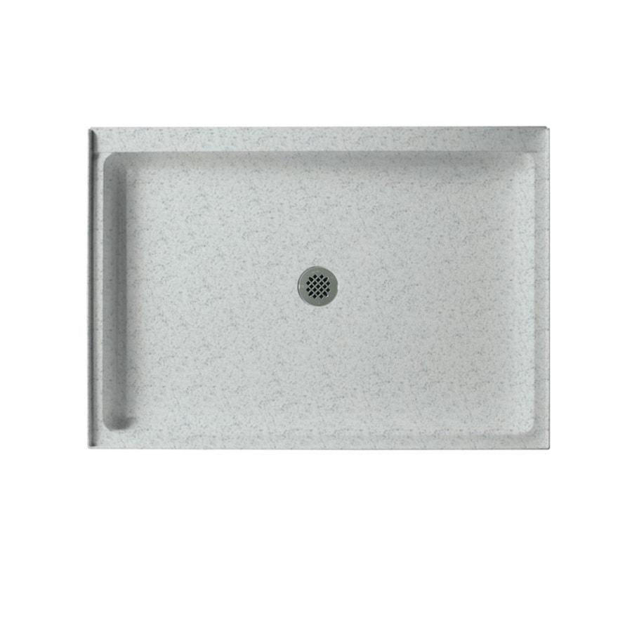 Swanstone Tahiti Gray Solid Surface Shower Base (Common: 34-in W x 48-in L; Actual: 34-in W x 48-in L) with Center Drain