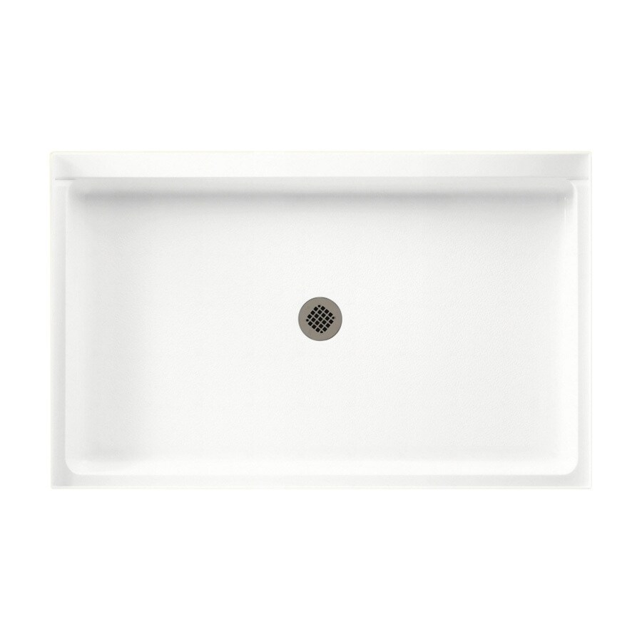 Swanstone Tahiti White Solid Surface Shower Base (Common: 34-in W x 54-in L; Actual: 34-in W x 54-in L)
