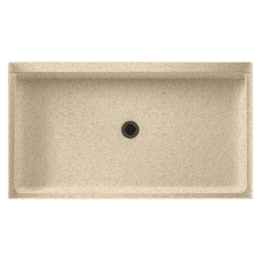 shop swanstone bermuda sand solid surface shower base