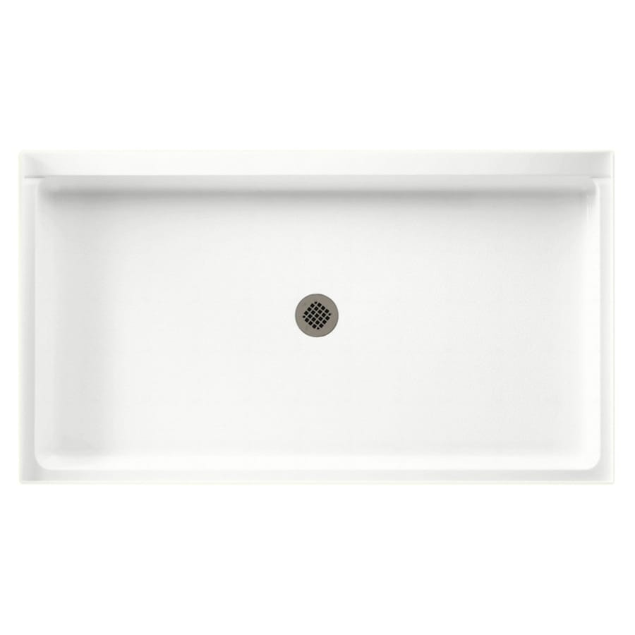 Swanstone Tahiti White Solid Surface Shower Base (Common: 34-in W x 60-in L; Actual: 34-in W x 60-in L)