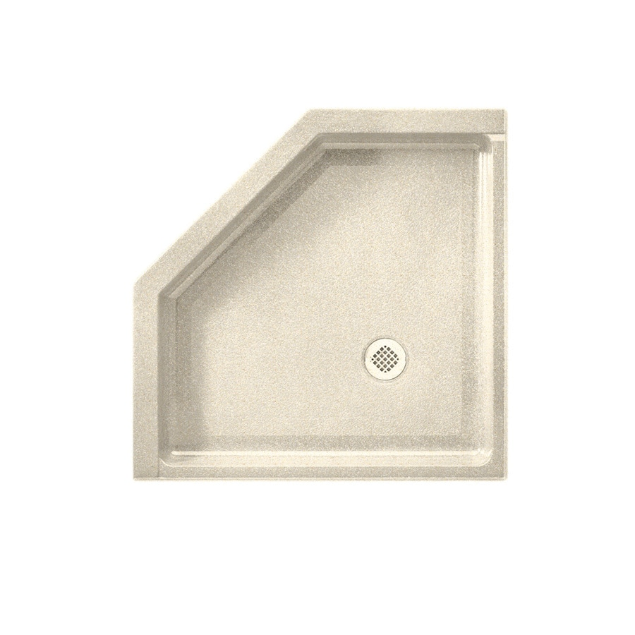 Swanstone Almond Galaxy Solid Surface Shower Base (Common: 36-in W x 36-in L; Actual: 36-in W x 36-in L) with Corner Drain