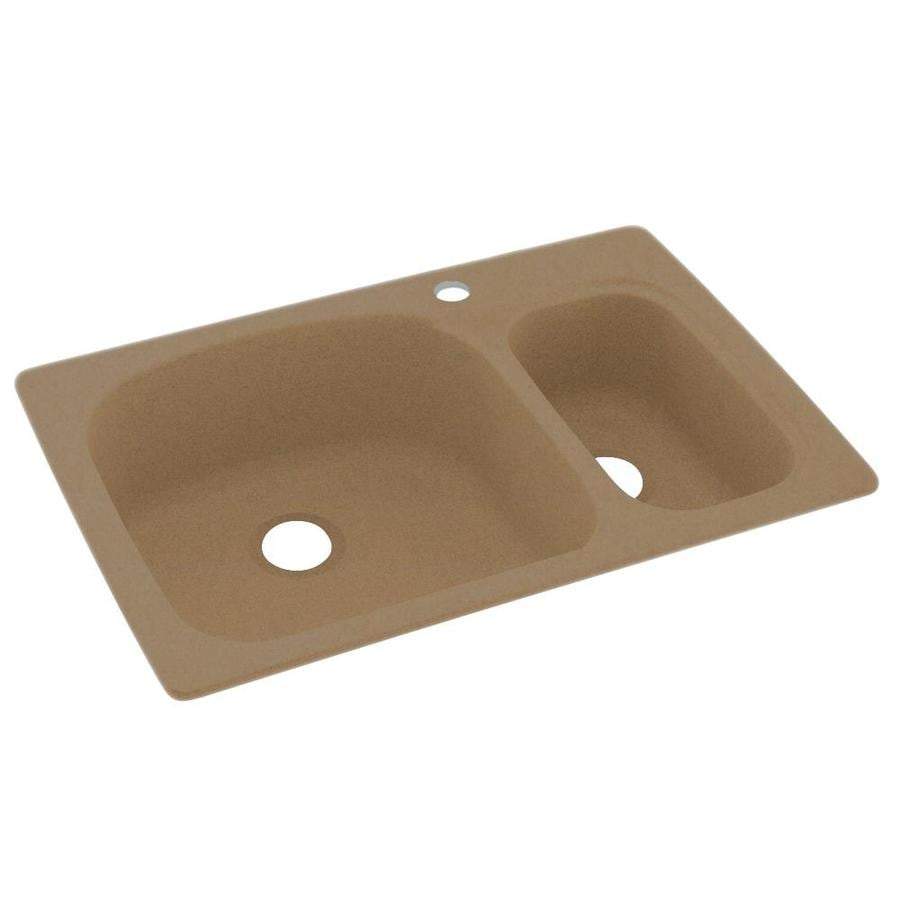 Swanstone 33-in x 22-in Barley Double-Basin Composite Drop-in 1-Hole Residential Kitchen Sink