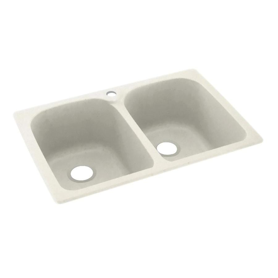 Swanstone 33-in x 22-in Glacier Double-Basin Composite Drop-In 1-Hole Residential Kitchen Sink