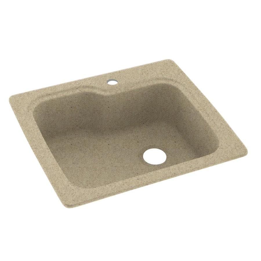Swanstone 25-in x 22-in Prairie Single-Basin Composite Drop-In 1-Hole Residential Kitchen Sink