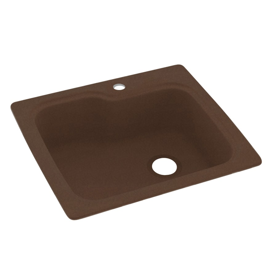 Swanstone 25-in x 22-in Acorn Single-Basin Composite Drop-in 1-Hole Residential Kitchen Sink