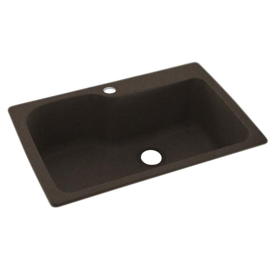 Swanstone 33-in x 22-in Canyon Single-Basin Composite Drop-in 1-Hole Residential Kitchen Sink