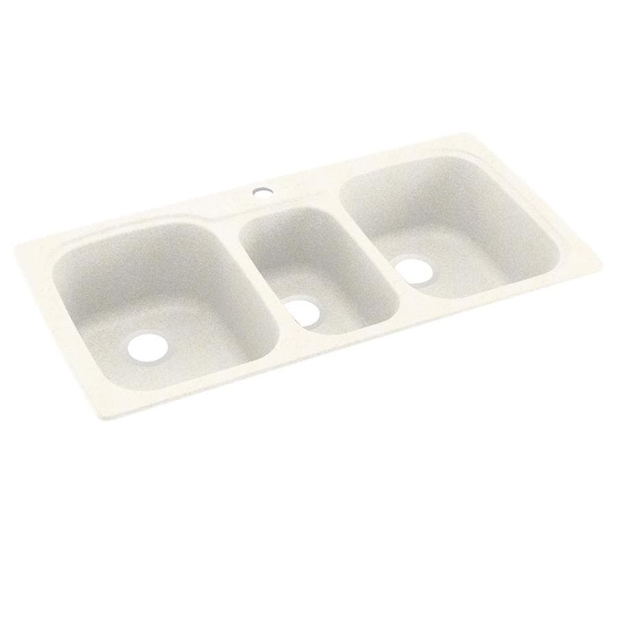 Swanstone 44-in x 22-in Baby's Breath Triple-Basin Composite Drop-In 1-Hole Residential Kitchen Sink