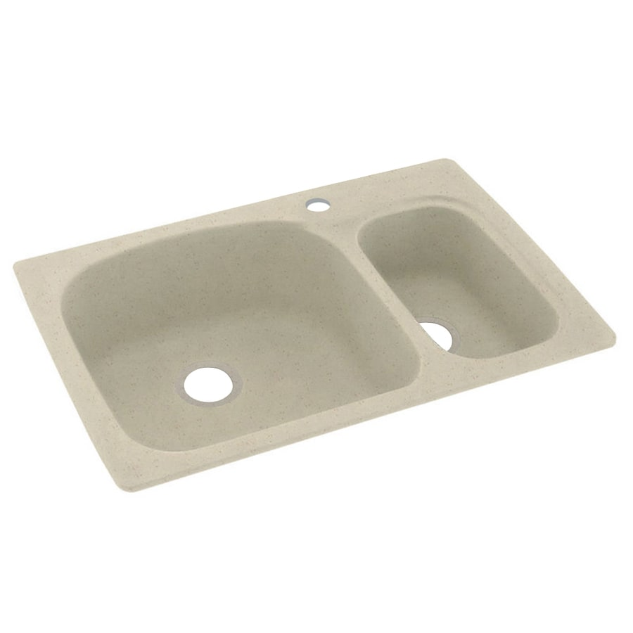 Swanstone 33-in x 22-in Caraway Seed Double-Basin Composite Drop-In 1-Hole Residential Kitchen Sink