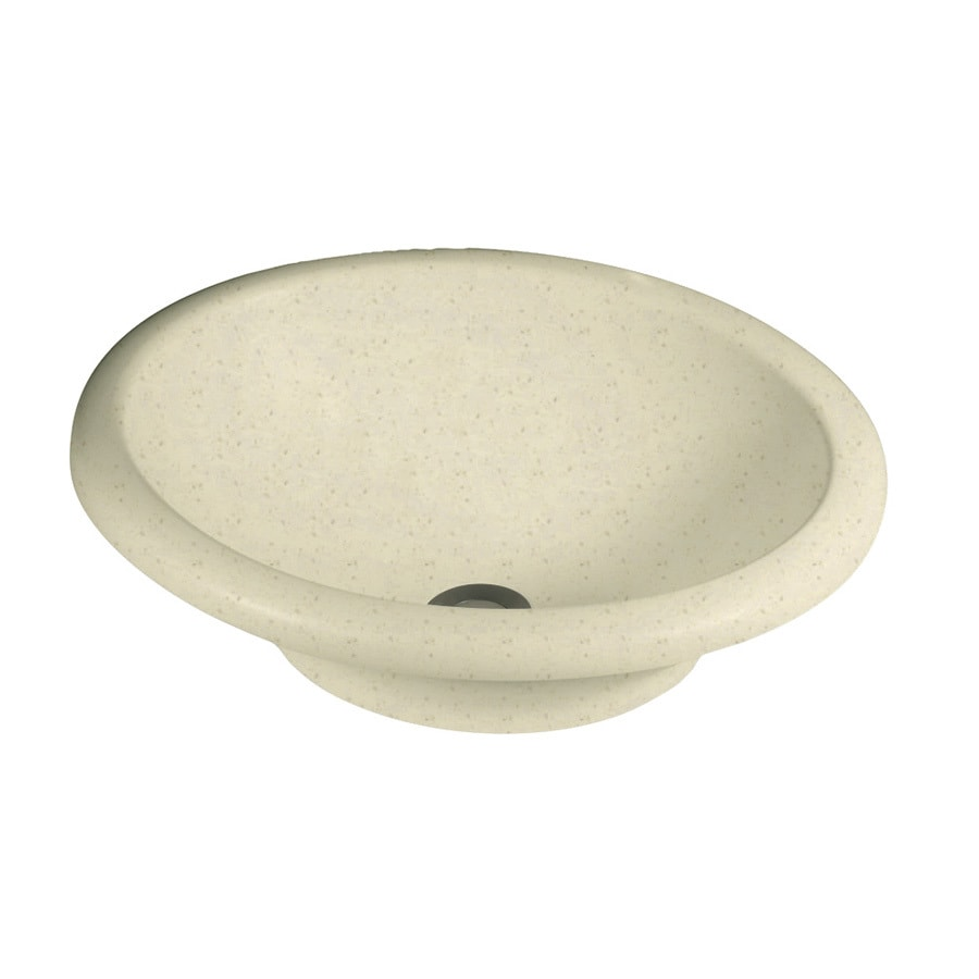 Swanstone Caraway Seed Solid Surface Oval Bathroom Sink with Overflow