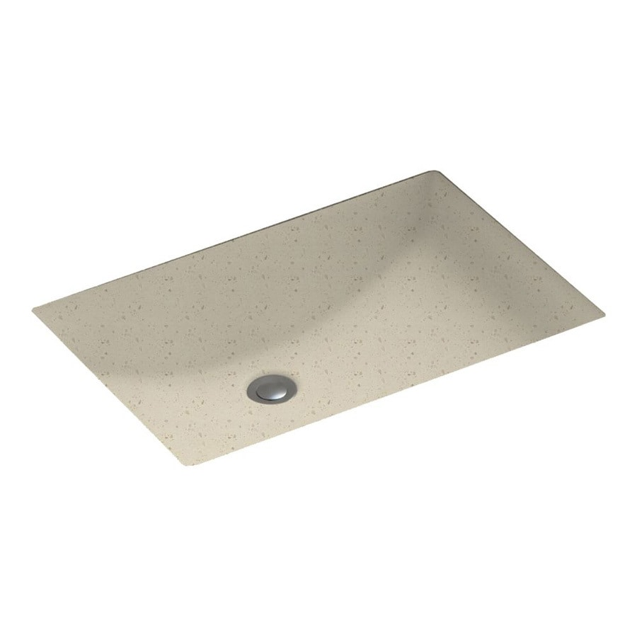 Swanstone Caraway Seed Solid Surface Undermount Rectangular Bathroom Sink with Overflow