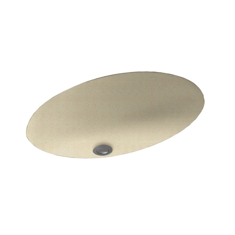 Swanstone Caraway Seed Solid Surface Undermount Oval Bathroom Sink with Overflow