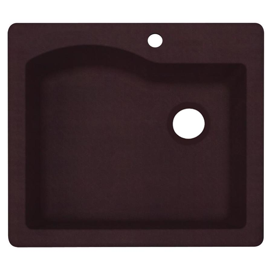 Swanstone 25.0000-in x 22.0000-in Espresso Single-Basin Granite Drop-in or Undermount 1-Hole Residential Kitchen Sink