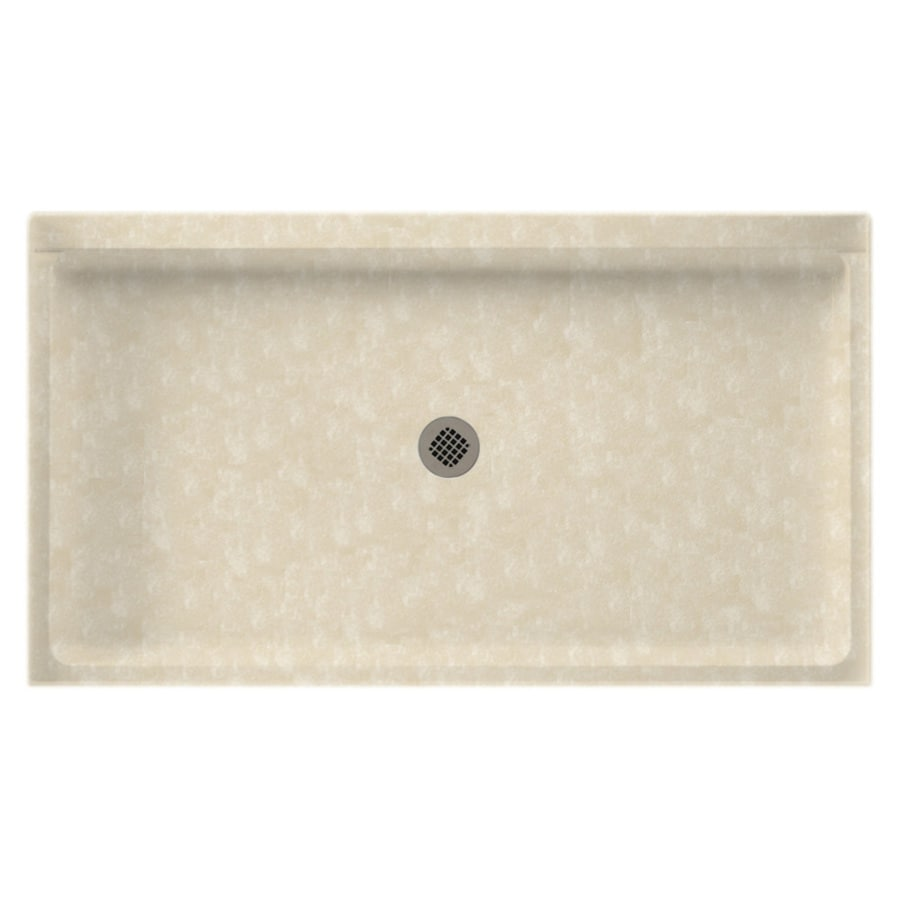 Swanstone Cloud Bone Solid Surface Shower Base (Common: 32-in W x 60-in L; Actual: 32-in W x 60-in L) with Center Drain