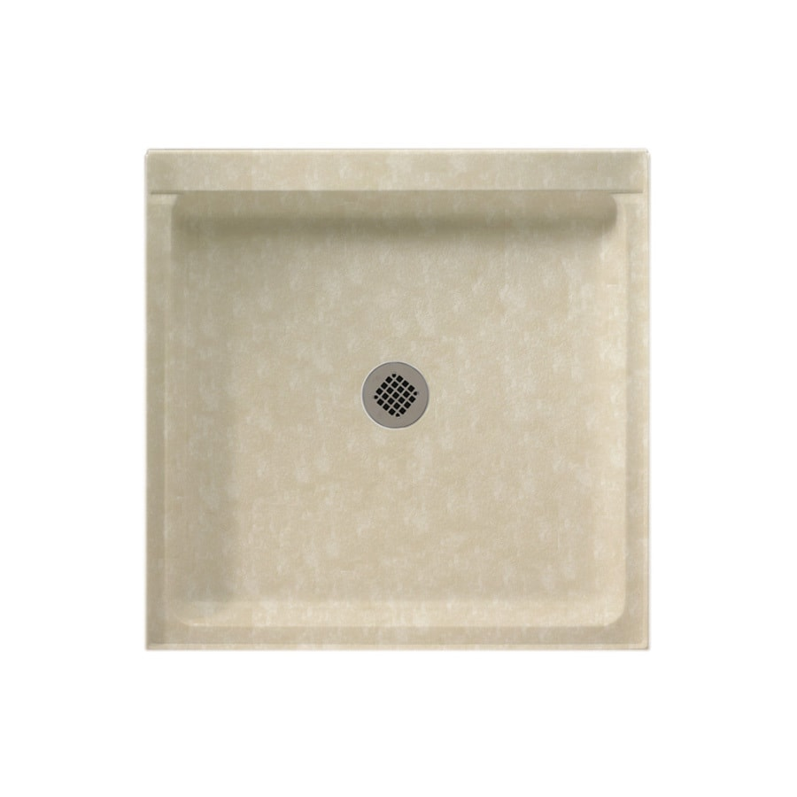 Swanstone Cloud Bone Solid Surface Shower Base (Common: 36-in W x 36-in L; Actual: 36-in W x 36-in L) with Center Drain