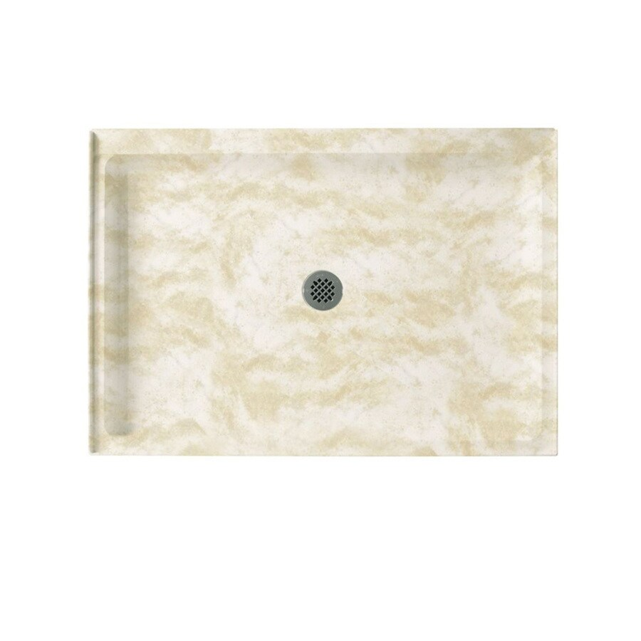 Swanstone Cloud White Solid Surface Shower Base (Common: 34-in W x 48-in L; Actual: 34-in W x 48-in L)