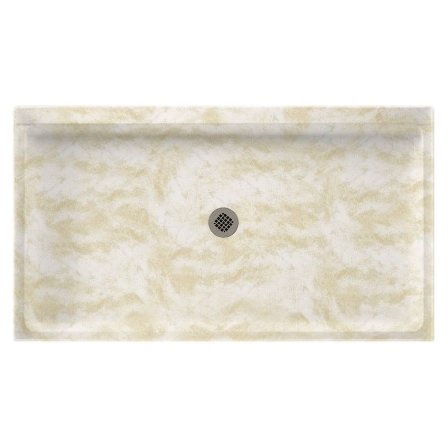 Swanstone Cloud White Solid Surface Shower Base (Common: 32-in W x 60-in L; Actual: 32-in W x 60-in L) with Center Drain
