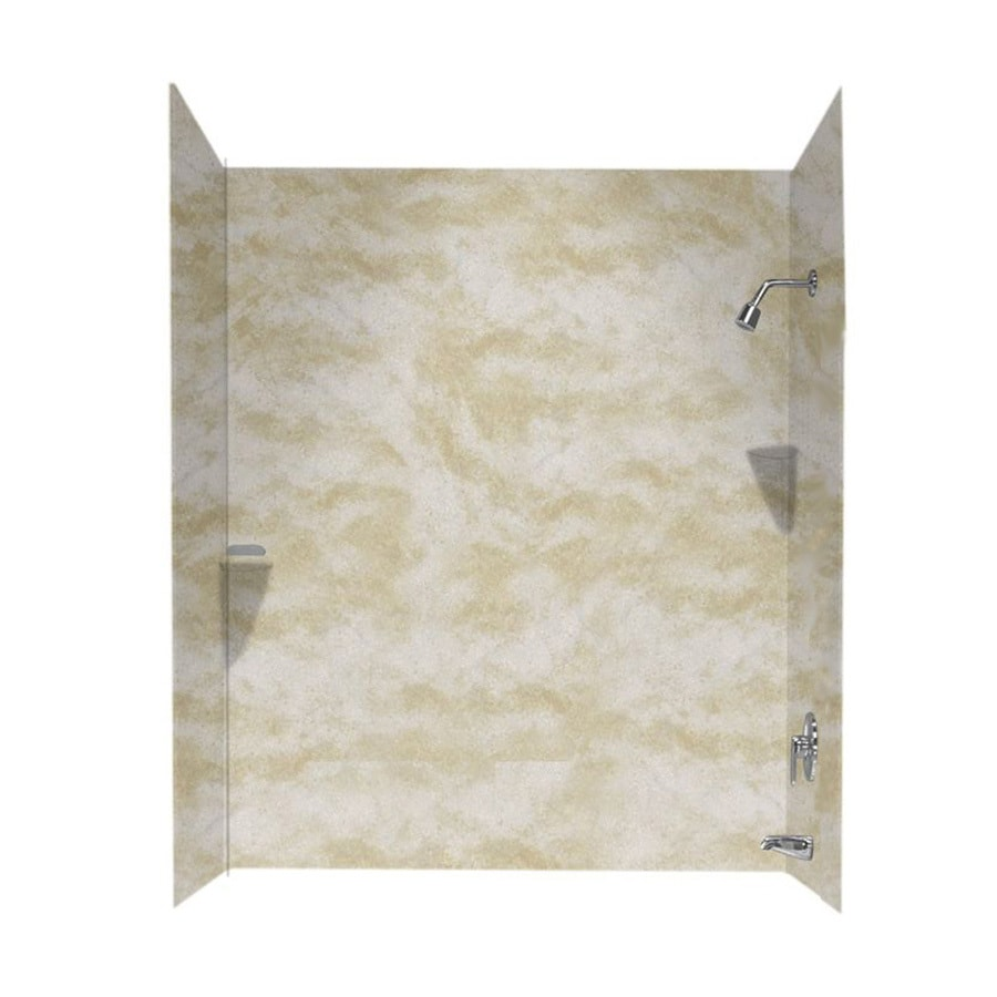 Swanstone Cloud White Solid Surface Bathtub Wall Surround (Common: 48 In X  72