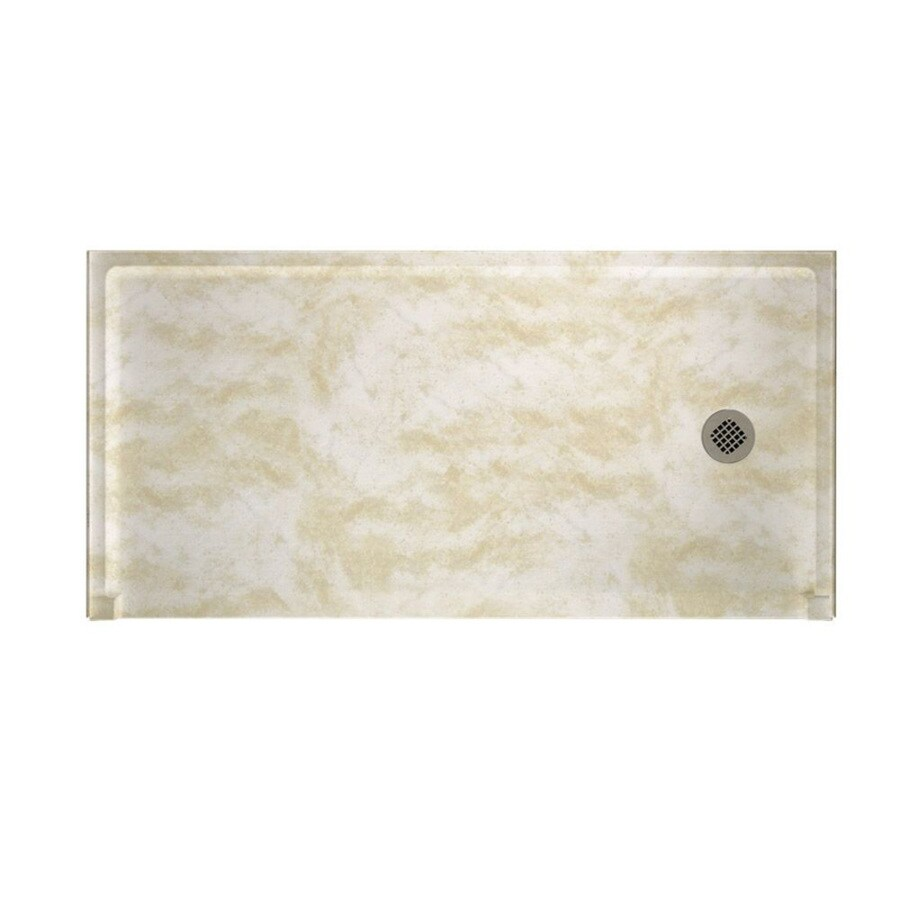 Swanstone Cloud White Solid Surface Shower Base (Common: 30-in W x 60-in L; Actual: 30-in W x 60-in L)