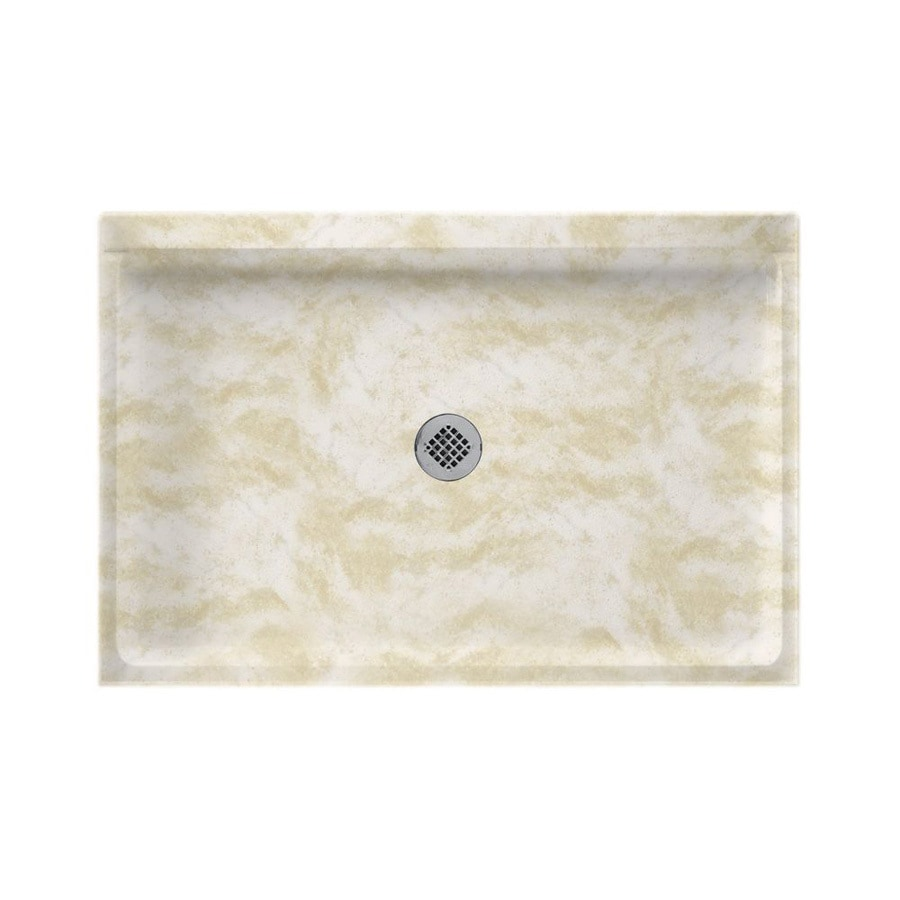 Swanstone Cloud White Solid Surface Shower Base (Common: 32-in W x 48-in L; Actual: 32-in W x 48-in L)