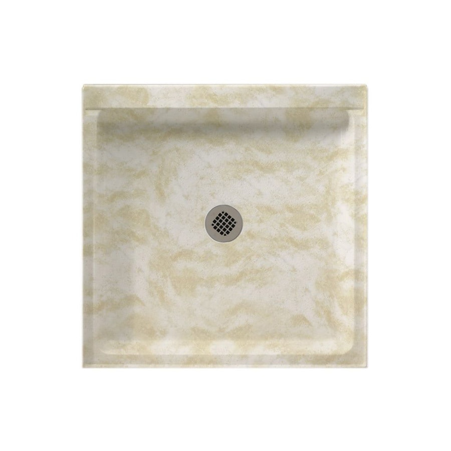 Swanstone Cloud White Solid Surface Shower Base (Common: 42-in W x 36-in L; Actual: 36-in W x 42-in L)
