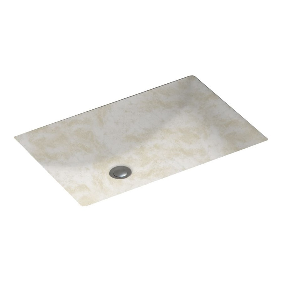 Swanstone Cloud White Solid Surface Undermount Rectangular Bathroom Sink with Overflow