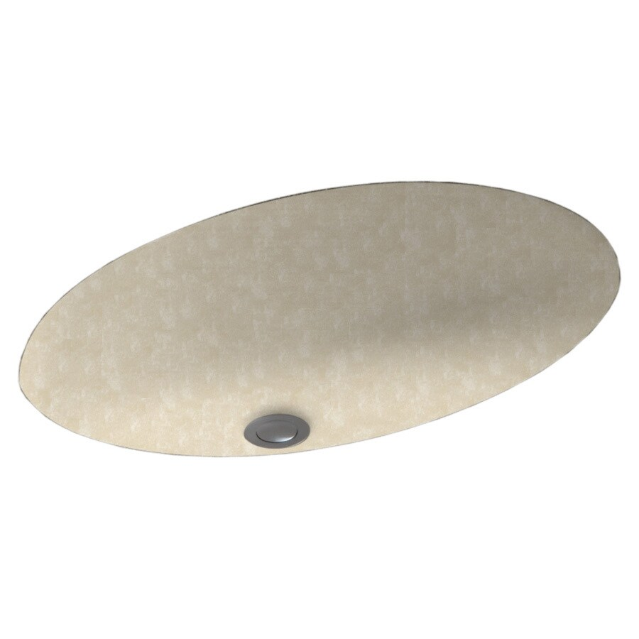 Swanstone Cloud Bone Solid Surface Undermount Oval Bathroom Sink with Overflow