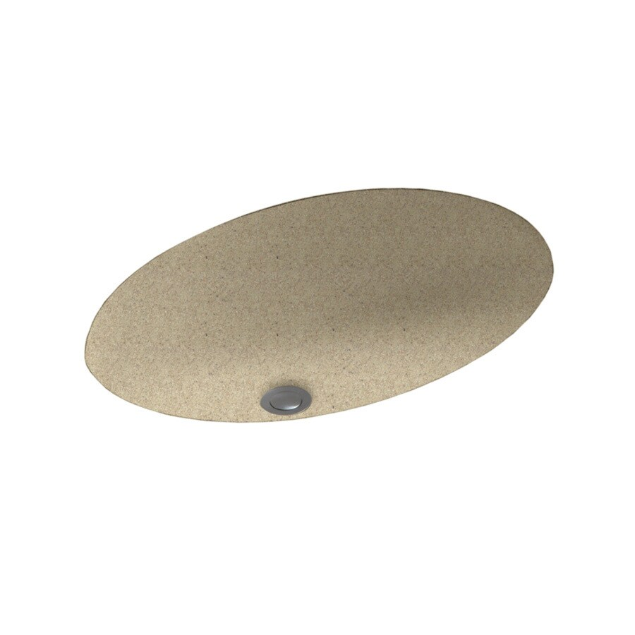 Swanstone Prairie Solid Surface Undermount Oval Bathroom Sink with Overflow
