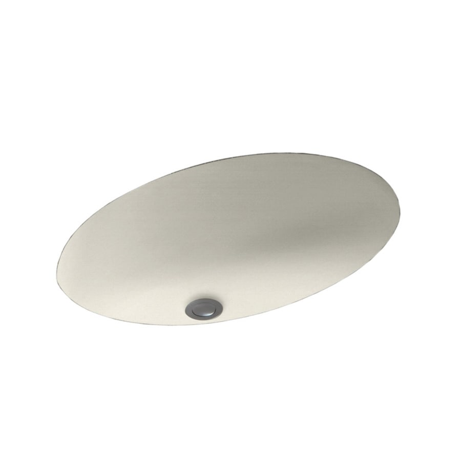 Swanstone Glacier Solid Surface Undermount Oval Bathroom Sink with Overflow