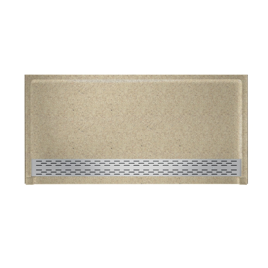 Swanstone Prairie Solid Surface Shower Base (Common: 64-in W x 34-in L; Actual: 64.25-in W x 34.125-in L) with Front Drain
