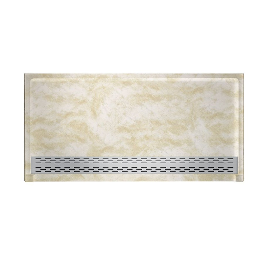 Swanstone Cloud White Solid Surface Shower Base (Common: 64-in W x 34-in L; Actual: 64.2500-in W x 34.1250-in L)
