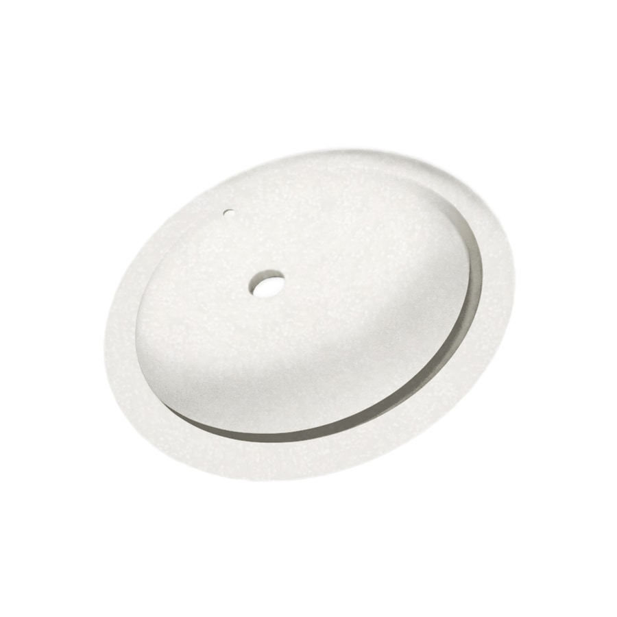 Swanstone Tahiti White Solid Surface Undermount Oval Bathroom Sink with Overflow