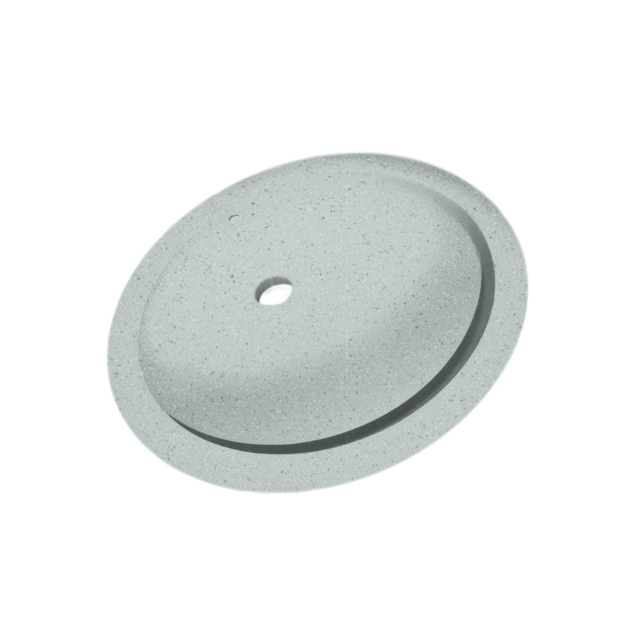 Swanstone Tahiti Gray Solid Surface Undermount Oval Bathroom Sink with Overflow