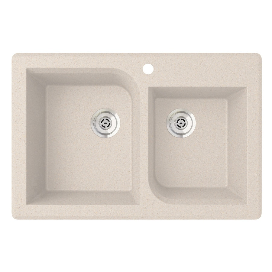 SWAN 33.0000-in x 22.0000-in Granito Double-Basin Granite Drop-in or Undermount 1-Hole Residential Kitchen Sink