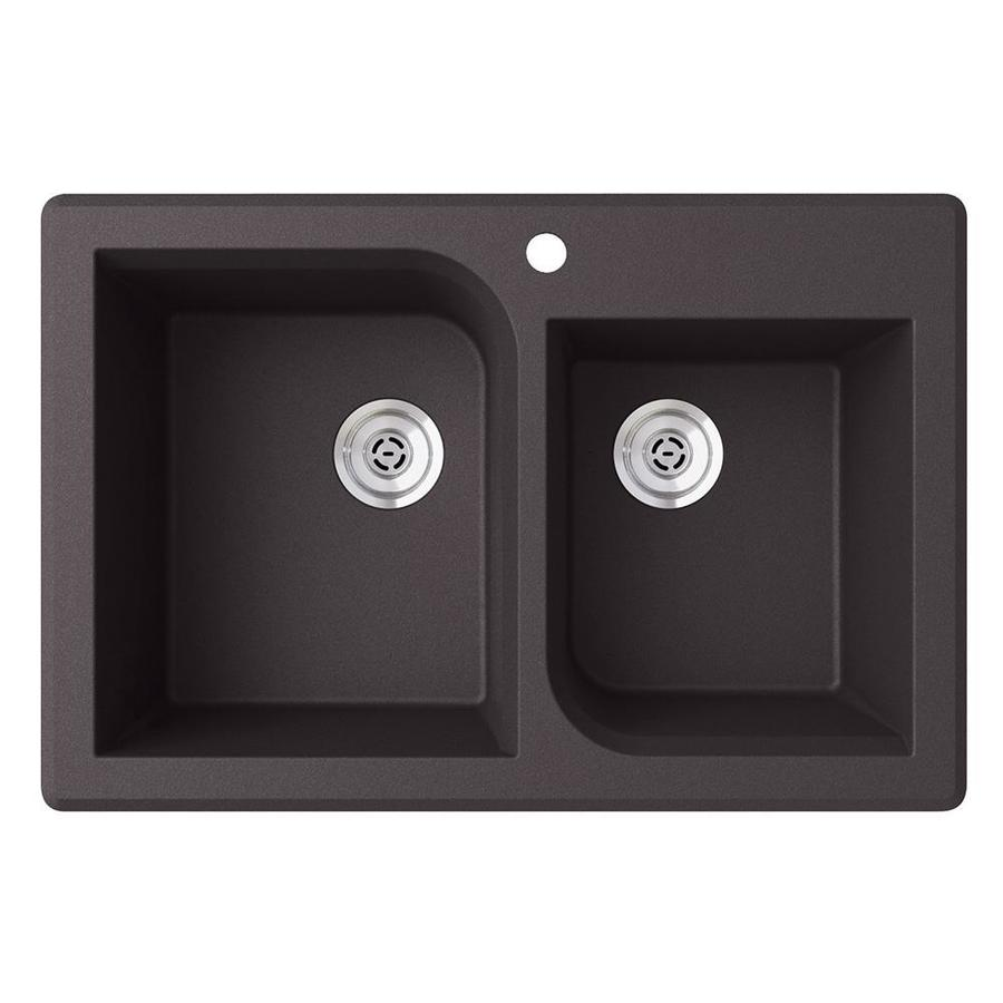 SWAN 33.0000-in x 22.0000-in Nero Double-Basin Granite Drop-in or Undermount 1-Hole Residential Kitchen Sink