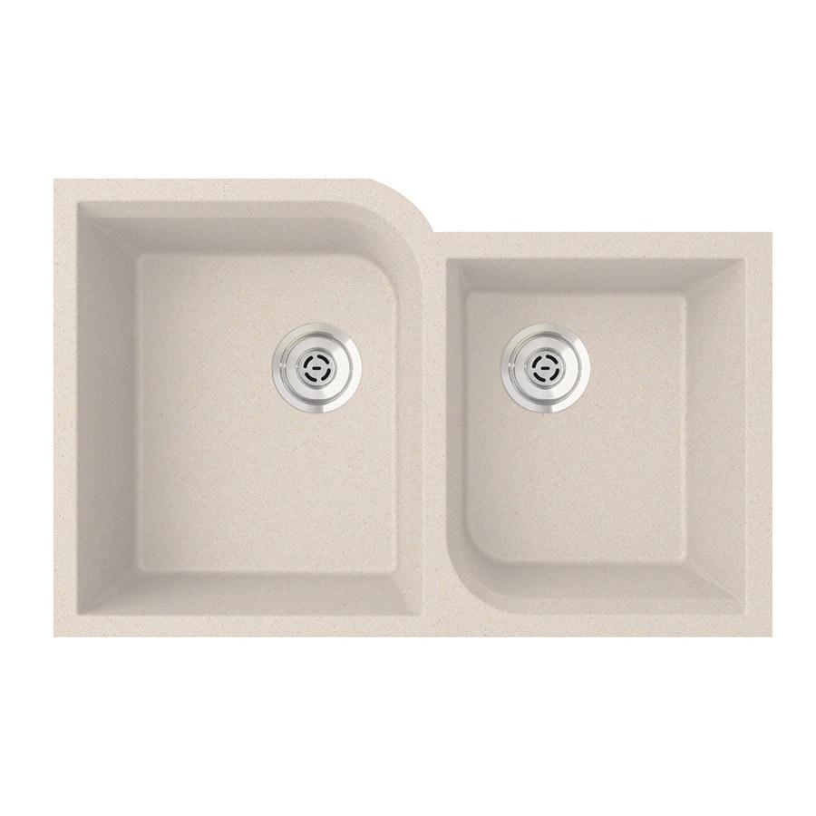 SWAN 21-in x 32-in Granito Double-Basin Granite Undermount Residential Kitchen Sink