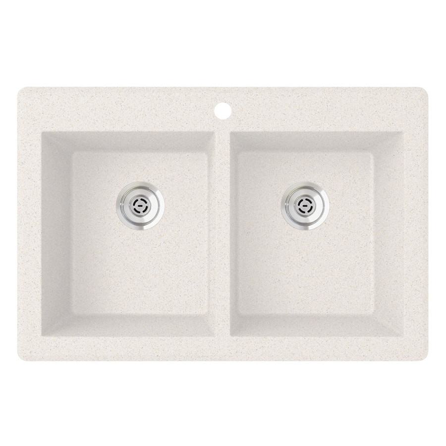 SWAN 33.0000-in x 22.0000-in Bianca Double-Basin Granite Drop-in or Undermount 1-Hole Residential Kitchen Sink