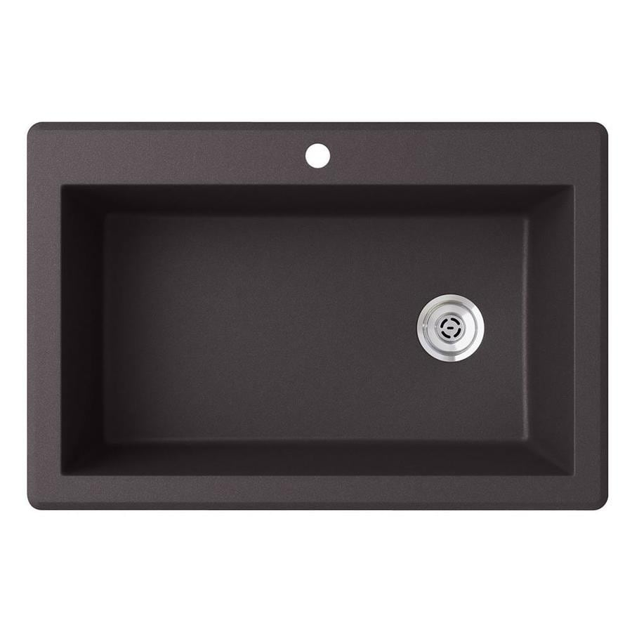SWAN 33-in x 22-in Nero Single-Basin Granite Drop-In 1-Hole Residential Kitchen Sink