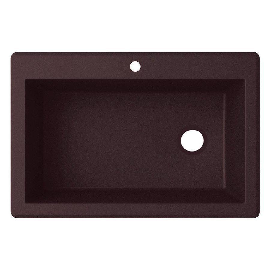 Swanstone QZ03322AD.077 Granite 1-Hole Dual Mount Single-Bowl Kitchen Sink 33-in L X 22-in H X 10-in H Nero