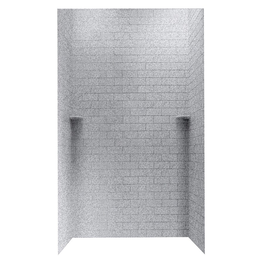 shop swanstone gray granite solid surface shower wall surround side and back panels common 48. Black Bedroom Furniture Sets. Home Design Ideas