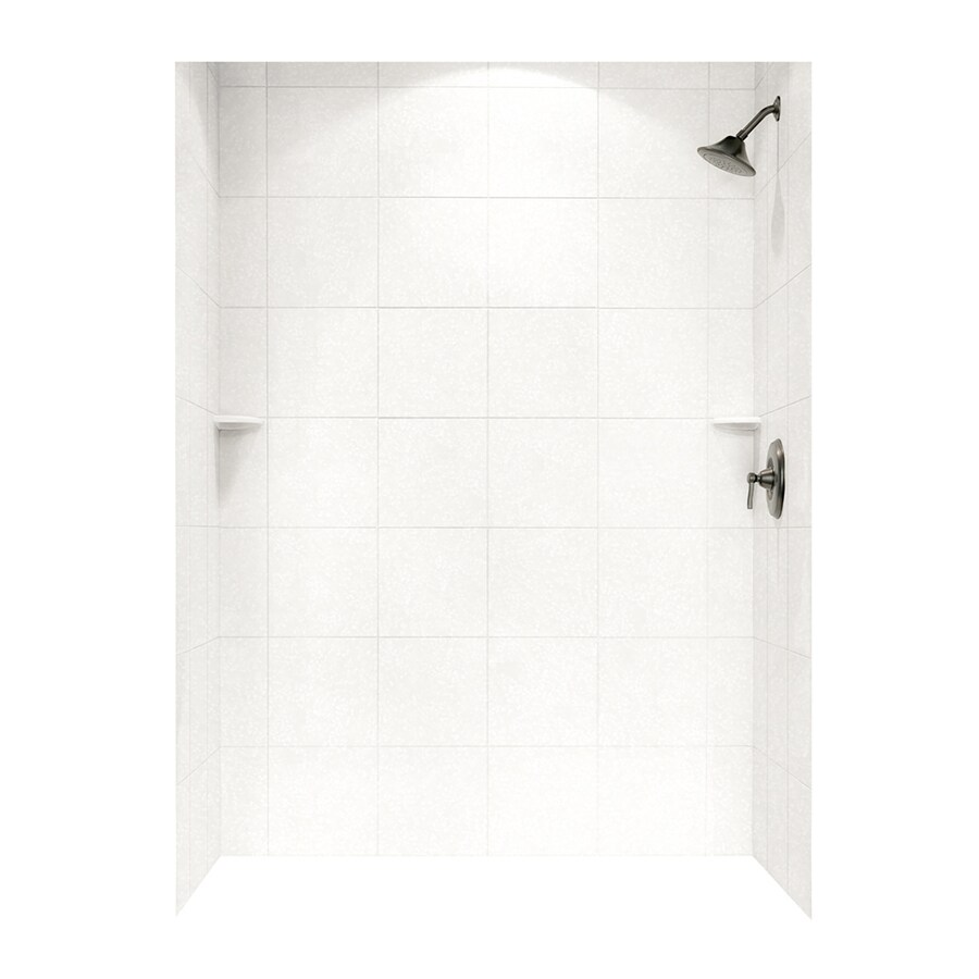 Swanstone Tahiti White Shower Wall Surround Side and Back Walls (Common: 62-in x 36-in; Actual: 72.5-in x 62-in x 36-in)