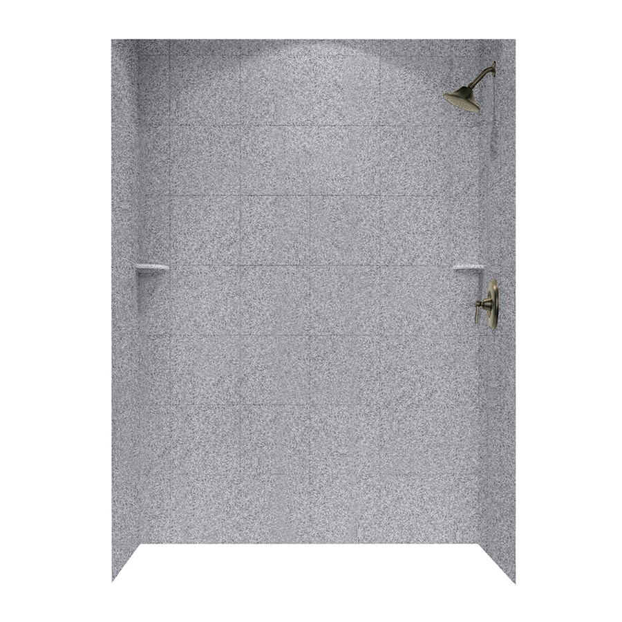 Swanstone Gray Granite Shower Wall Surround Side and Back Walls (Common: 62-in x 36-in; Actual: 72.5-in x 62-in x 36-in)