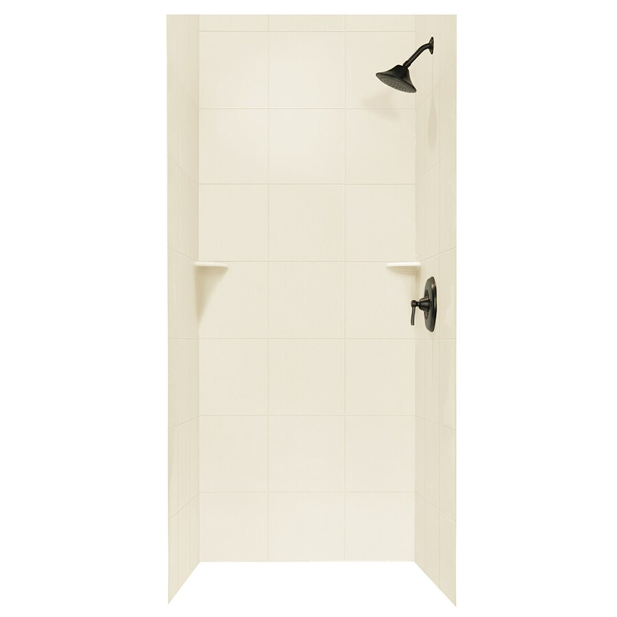 Swanstone Bone Shower Wall Surround Side and Back Walls (Common: 36-in x 36-in; Actual: 72.5-in x 36-in x 36-in)