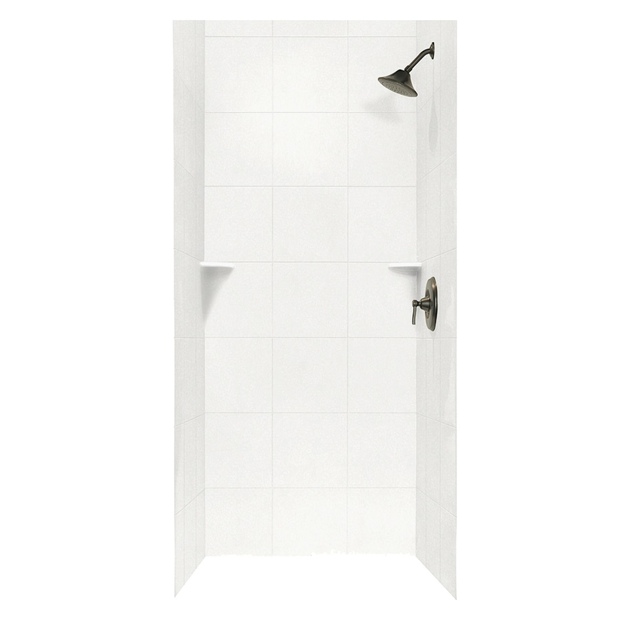 Swanstone Tahiti White Shower Wall Surround Side and Back Wall Kit (Common: 36-in x 36-in; Actual: 96-in x 36-in x 36-in)