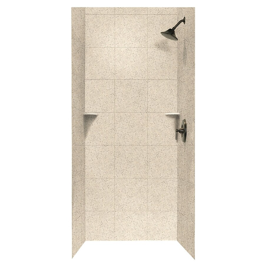 Swanstone Bermuda Sand Shower Wall Surround Side and Back Walls (Common: 36-in x 36-in; Actual: 96-in x 36-in x 36-in)