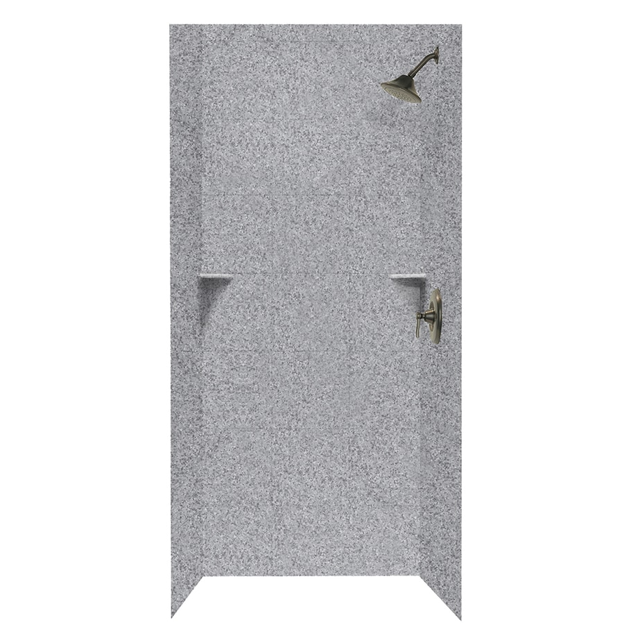 Swanstone Gray Granite Shower Wall Surround Side and Back Walls (Common: 36-in x 36-in; Actual: 96-in x 36-in x 36-in)