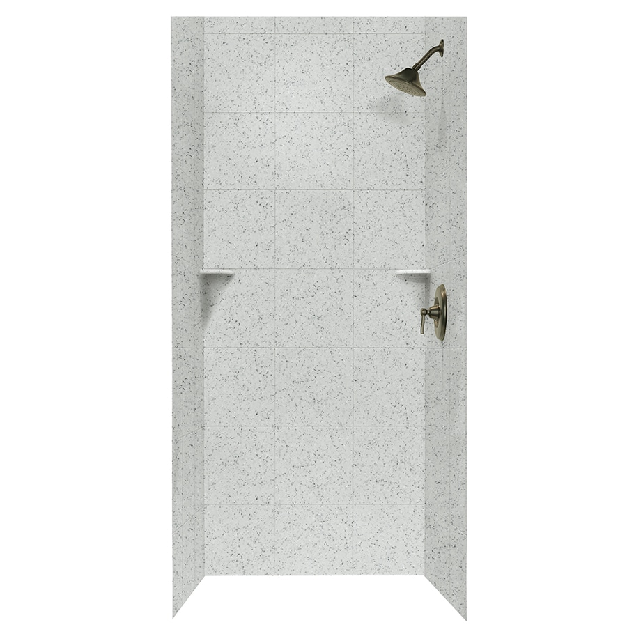 Swanstone Tahiti Gray Shower Wall Surround Side And Back Wall Kit (Common: 36-in x 36-in; Actual: 96-in x 36-in x 36-in)