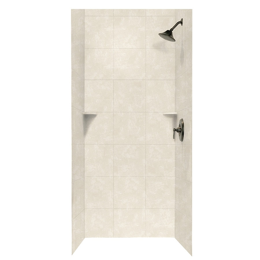 Swanstone Cloud Bone Shower Wall Surround Side and Back Walls (Common: 36-in x 36-in; Actual: 96-in x 36-in x 36-in)