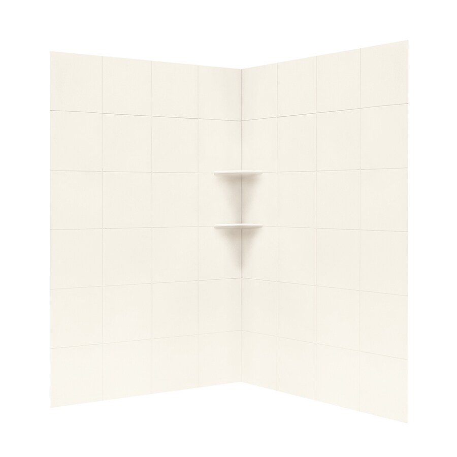 Solid Surface Wall Cladding : Shop swanstone white solid surface shower wall surround
